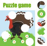 Puzzle for toddlers. Matching children educational game. Match pieces and complete the picture. Activity for pre school years kids. Turkey gobbler. Animals Royalty Free Stock Photography
