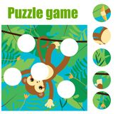 Puzzle for toddlers. Match pieces and complete the picture. Educational game for pre school years kids. Animals theme. Puzzle for toddlers with monkey. Match Royalty Free Stock Image