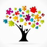 Puzzle tree. Abstract vector illustration background