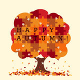 Puzzle tree in autumn style. Royalty Free Stock Images