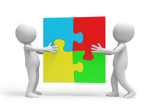Puzzle. Two 3d people putting up a puzzle Royalty Free Stock Images