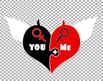 Puzzle Two Pieces Heart. Angel Wings, Devil Horns. Puzzle Two Pieces Heart With Angel Wings, Devil Horns and Gender Signs Of Venus And Mars. You Plus Me royalty free illustration