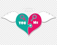 Puzzle Two Pieces Heart. Angel Wings, Nimbus Above. Puzzle Two Pieces Heart With Angel Wings, Nimbus and Gender Signs Of Venus And Mars. You Plus Me. Isolated on vector illustration