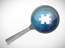Puzzle under a magnify glass. illustration Stock Photo