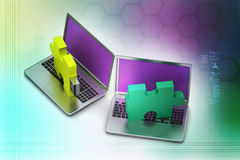 Puzzle usb on laptop Royalty Free Stock Photos