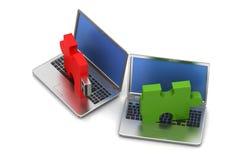 Puzzle usb on laptop Stock Image