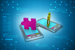 Puzzle usb on smart phone Stock Image