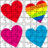 Puzzle with a variety of hearts Royalty Free Stock Image