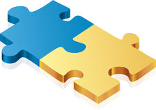 Puzzle (vector). Illustration of two metallic puzzle pieces (vector royalty free illustration