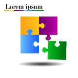 Puzzle. Vector colorful illustration four s pieces Stock Photography