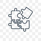 Puzzle vector icon isolated on transparent background, linear Pu royalty free illustration