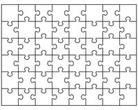 Puzzle 48. Vector Illustration of white puzzle, separate pieces Royalty Free Stock Photo