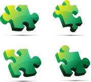 Puzzle verde di vettore 3D Fotografia Stock Libera da Diritti