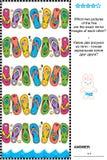 Puzzle visivo - il ritrovamento due ha rispecchiato le copie delle file di flip-flop illustrazione vettoriale