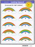 Puzzle visivo per i bambini con gli arcobaleni Fotografia Stock
