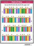 Puzzle visivo posteriore di vista laterale del ritrovamento con le matite colorate royalty illustrazione gratis