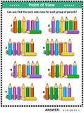 Puzzle visivo posteriore di vista laterale del ritrovamento con le matite colorate illustrazione vettoriale