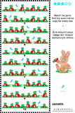 Puzzle visivo: trovi la copia dello specchio per ogni fila delle carote Immagini Stock