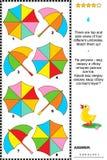 Puzzle visuel avec des vues de côté supérieures et des parapluies Photo stock