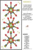 Puzzle visuel de logique avec des directions de carte illustration libre de droits