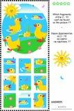 Puzzle visuel de logique de petits canetons mignons Images stock