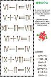 Puzzle visuel de maths avec les chiffres romains et les allumettes illustration stock