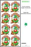 Puzzle visuel - trouvez deux insignes identiques avec le lutin le cordonnier Image libre de droits