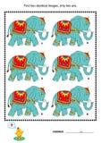 Puzzle visuel - trouvez deux photos identiques des éléphants Images libres de droits