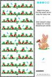 Puzzle visuel : trouvez la copie de miroir pour chaque rangée des carottes Images stock