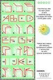 Puzzle visuel - trouvez la vue supérieure des cubes en verre avec des wireframes Images libres de droits
