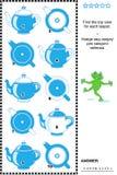 Puzzle visuel - trouvez la vue supérieure pour chaque théière Photographie stock