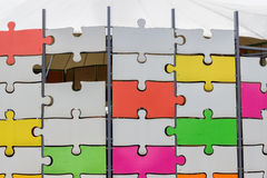Puzzle wall with one missing piece Stock Photo