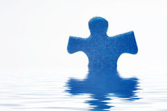 Puzzle in water. On white Stock Image