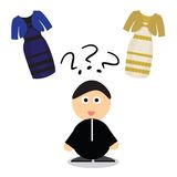 Puzzle what color of dress white and  gold or black blue Stock Photos