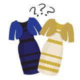 Puzzle what color of dress white and  gold or Royalty Free Stock Photos