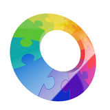 Puzzle wheel. 3d illustration of colorful puzzle wheel isolated Royalty Free Stock Photos