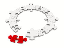 Puzzle on white background Royalty Free Stock Photos