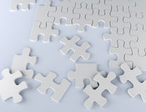 Puzzle on white background business team 3D illustration. White puzzle pieces on paper 3D illustration strategy team work Royalty Free Stock Image