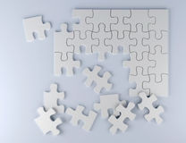 Puzzle on white background business team 3D illustration. White puzzle pieces on paper 3D illustration strategy team work Stock Photo