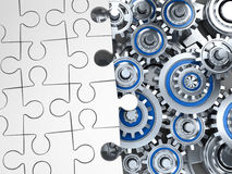 Puzzle white and gear Royalty Free Stock Photos