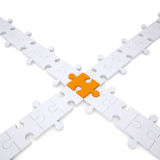 Puzzle white and orange. Isolated render on a white background Royalty Free Stock Image