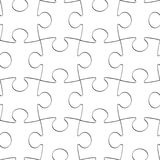Puzzle White Pieces Seamless Background, Blank Jigsaw Pattern royalty free stock image