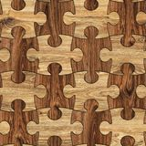 Puzzle Wood Seamless Background, Puzzled Brown Wooden Texture royalty free stock images
