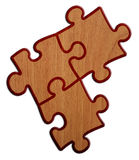 Puzzle - Wood Version On White Background 2 Royalty Free Stock Photos