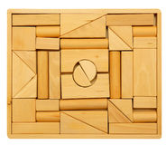 Puzzle of wooden blocks Royalty Free Stock Images