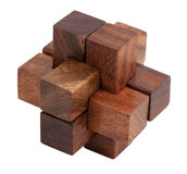 Puzzle of the wooden blocks Stock Photos