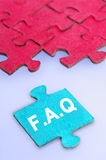 Puzzle word FAQ Stock Images