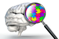 Puzzle word on magnifying glass and human brain Royalty Free Stock Photo