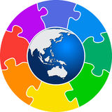 Puzzle world. Illustration art of a puzzle world with white background Royalty Free Illustration