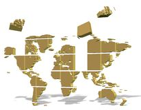 Puzzle world. Golden 3d map of world made from square puzzle pieces Royalty Free Stock Photos